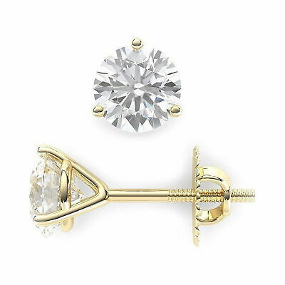 1 ct Round Cut 3-prong Solitaire Stud Earrings Solid 14k Yellow Gold Screw Back