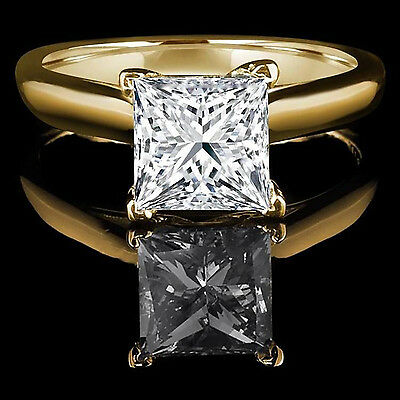 2.85 ct BRILLIANT Princess CUT SOLITAIRE ENGAGEMENT RING REAL 14K Yellow GOLD