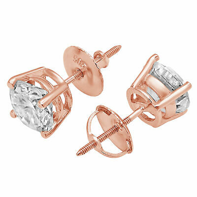 0.5 ct Round Cut Solitaire Stud Earrings in Solid 14k Real Rose Gold Screw Back