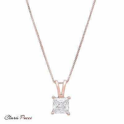 """1.0Ct Princess Cut 14K Rose Gold Solitaire Pendant Necklace Box With 16"""" Chain"""