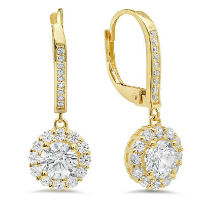 3.55 ct ROUND CUT Solitaire Halo DROP DANGLE LEVERBACK EARRINGS 14K Yellow GOLD