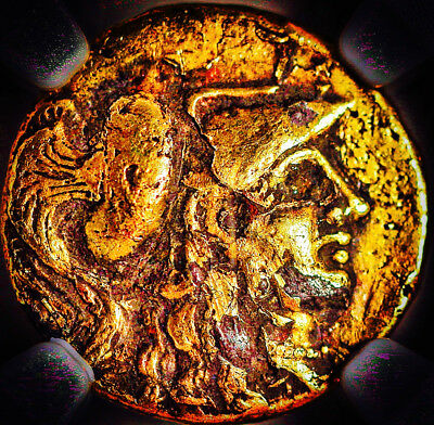 Alexander III ancient forgery, gold plated stater, NGC graded XF