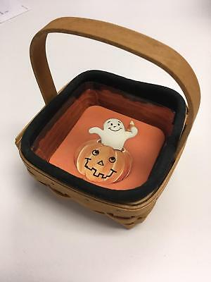 LONGABERGER 2004 Halloween Coaster Basket w Liner Protector + 6 Coasters EUC