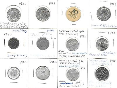 Germany 1918-21 Collection of 12 Notgeld Coins 6(10 Pf.)+3(25 Pf.)& 3(50 Pf.)