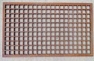 "Atq Vtg - Cast Iron Floor Wall Grate Cold Air Return Vent - 29 3/4"" X 17 3/4"""