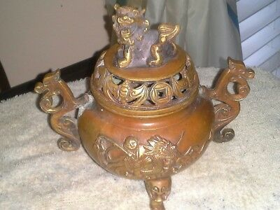 Heavy,  Really nice old Bronze Incense Burner Marked