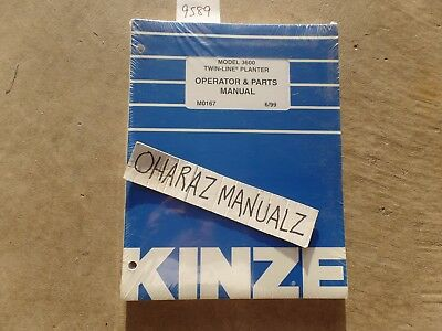June 1999 Kinze 3600 Twin Line Planter Operator Parts Manual M0167