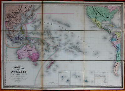 Oceania Australia New Zealand Pacific Islands Hawaii America 1870 linen wall map
