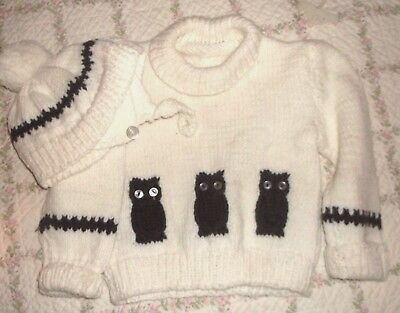 """HANDMADE Knitted Knit   OWL  Sweater   HAT  So cute  CHEST 22"""""""