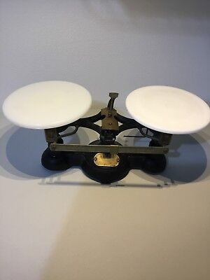 Vintage Ohaus Cast Iron & Milk Colored Glass Plate Balance Scale