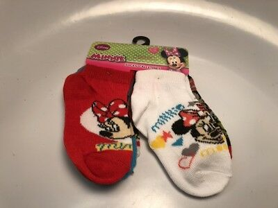 Toddler Girls Kids 2T to 4T Disney Minnie Mouse 6 Pairs of Socks