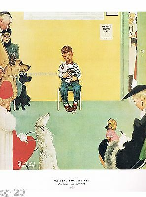 """Norman Rockwell Veterinarian print """"WAITING AT THE VET"""" animals dogs cats pets"""