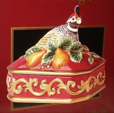 Fitz and Floyd PARTRIDGE IN A PEAR TREE  Covered Candy Box with Lid NEW in BOX