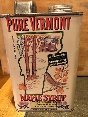 Old Vermont maple syrup tin can 1/2 gallon Robert . Coombs Jacksonville Randolph