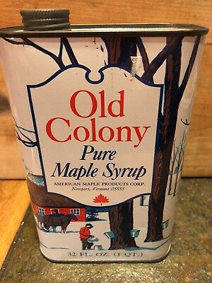 Vintage Old Colony Pure Maple Syrup Tin w/ Lid, American Maple Products, Vermont