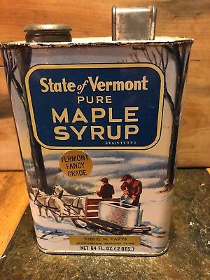 Vintage Vermont Pure Maple Syrup Half Gallon Can Tin Great Graphics!