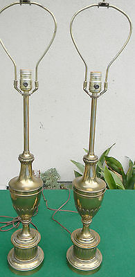 Vintage Mid Century Pair Stiffel Brass Table   Lamps Two 2 Lamps