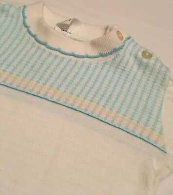 Vintage 60's Penney's Toddletime Baby Blue Striped Long Sleeve Baby Shirt Size 2