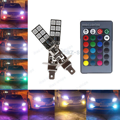 2Pcs H1 12SMD RGB LED Fog Lights Driving Daytime Running Bulb + Remote Control