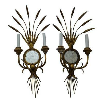 Mid Century Hollywood Regency Sheaf of Wheat Wall Sconce ~ A Pair