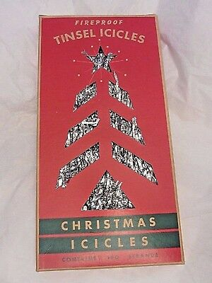 Vintage Fireproof Tinsel Icicles Christmas Tree Decorations 190 Strands w/ Box