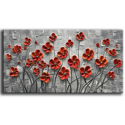 Hand-Painted Abstract Oil Painting Modern Home Decor Art Wall On Canvas Flower