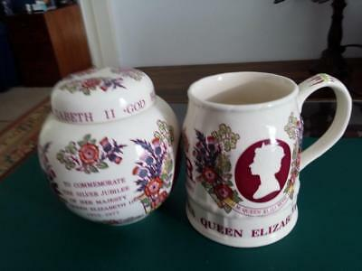 Masons ironstone Ginger Jar and Tankard- Queens Silver Jubilee