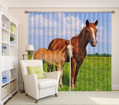 3D Cute Two Horses 6 Blockout Photo Curtain Curtains Drapes Fabric Window CA