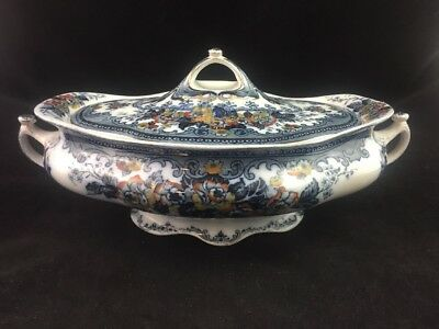 "Keeling & Co. Late Mayers England GOLWYN Blue / Gold Transferware 11 5/8"" Tureen"