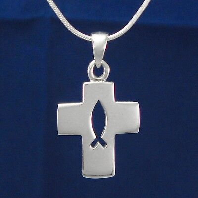 Cross Pendant with ICHTHYS - SOLID 925 Sterling Silver - NEW - Chain Choice!