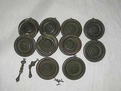 10 Antique Brass Drawer Pulls  Art Nouveau Dresser Cabinets