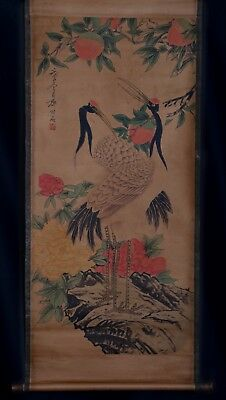 Awesome Rare Chinese Scroll Hand Painting red-crowned crane Mark QiBaiShi KK624