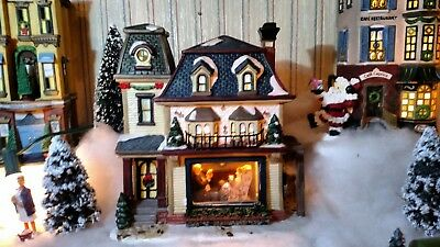 Rare Norman Rockwell Tea Time HandPainted Porcelain House Christmas Village Snow