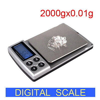 New Portable Digital Pocket Weighing Balance Scale 300g / 0.01g 2000g / 0.1g