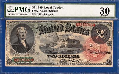 "1869 $2 ""Rainbow"" Legal Tender Note - Freshly Certified PMG Very Fine VF 30 C2C"