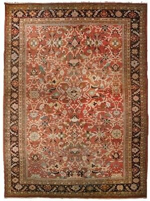 Antique hand-knotted authentic antique Palatial rug. 12'x 17'7""