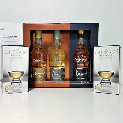 Benromach Single Malt Scotch Whisky (3x200ml) Trio Case Gift Pack + 2 Glencai...