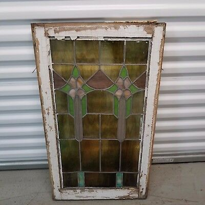 "Beautiful Art Deco Stained Leaded Glass Window Chicago Bulgalow 20"" by 35"""