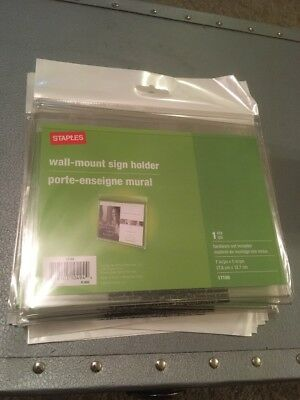 Staples Wall-Mount Sign Holder 7 X 5 Inches Horizontal Landscape Pack Of 14