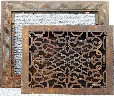 Large Antique Cast Iron Louvered Floor Grate Register Vent 16x20 or 12x16