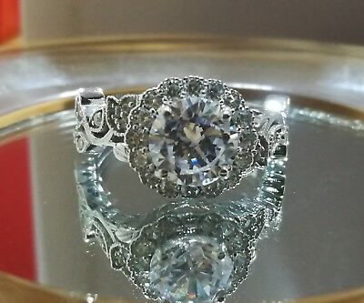 0.70 Ct Vintage Antique Art Deco Engagement Ring 14K White Gold Over