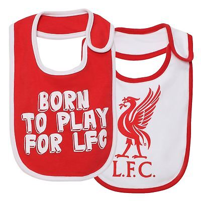 Liverpool FC LFC 2 Pack Boys Girls Red White Baby Feeding Bibs NWT Official