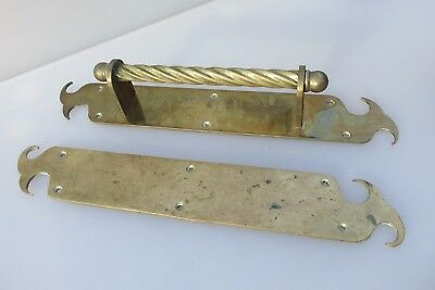 Vintage Brass Door Handles Set Pull & Finger Plate Nouveau Gothic Twist Old  15""