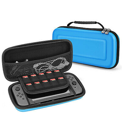 Nintendo Switch Travel Case Portable Carry Hard Shell EVA Game Deluxe (Blue)