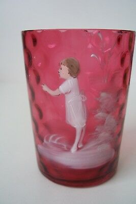 """Antique Victorian Bohemian Mary Gregory 19th C Cranberry Glass Tumbler 3 3/4"""""""