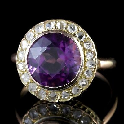 Antique Victorian Amethyst Diamond Cluster Ring 18Ct Gold