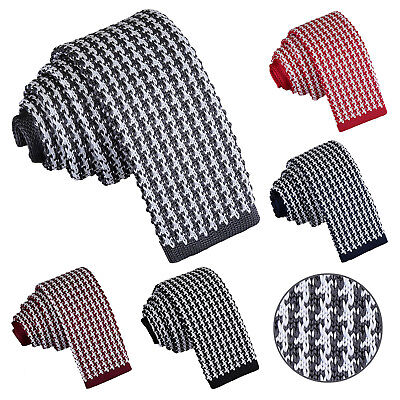 DQT Knit Knitted Geometric Houndstooth Formal Casual Business Mens Skinny Tie