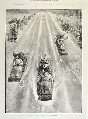 Tobogganing in Canada Schlittenfahrt Park Slide 1886 Illustrated London News
