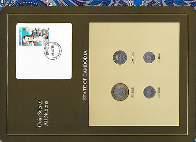 Coin Sets of All Nations Cambodia wcard 500,200,100,50 Riels 1994 UNC James Cook