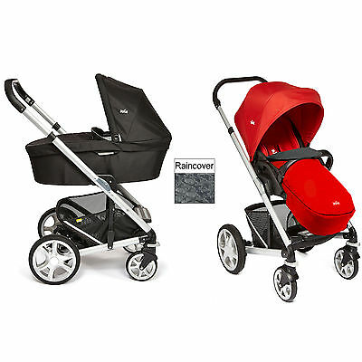 New Joie Tomato Red Chrome Plus Carrycot & Pushchair Silver Frame From Birth